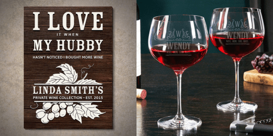 Wooden Wine Sign and Custom Balloon Glasses