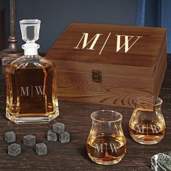 Monogrammed Liquor Decanter Gift Basket