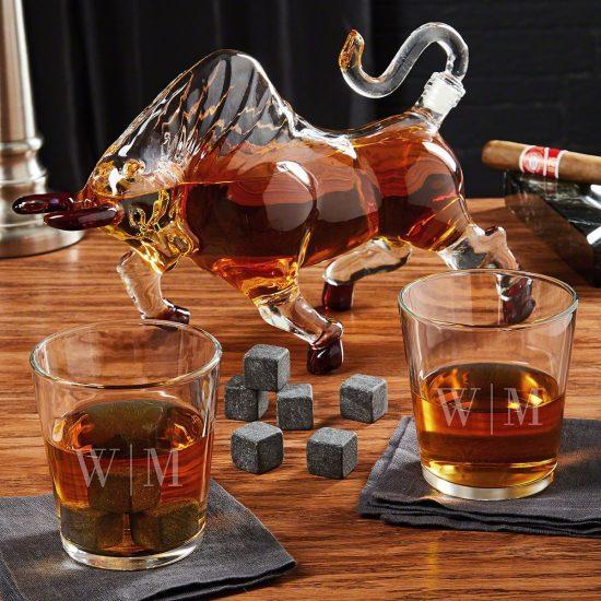 Bull Bourbon Decanter Set