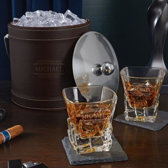 Customized Ice Bucket and Whiskey Bar Glasses Set