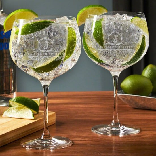 Engraved Balloon Glasses Set of 2