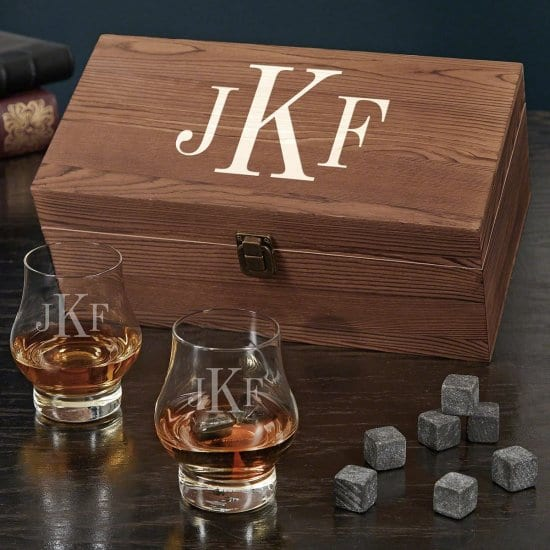 Monogrammed Whiskey Box Set with Glasses and Whiskey Stones