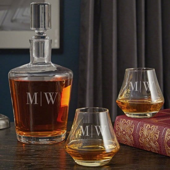 Initialed Whiskey Decanter and Glasses Gift for New Homeowners