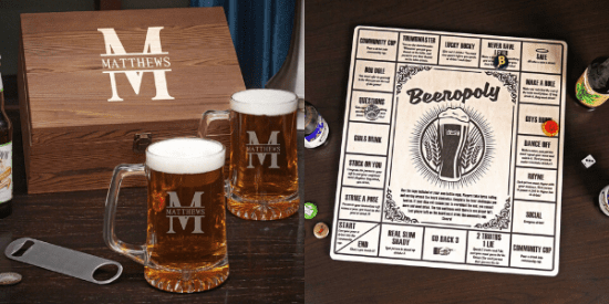 Engraved Beer Mug and Game Set