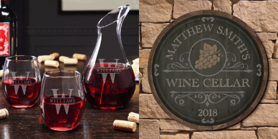 Personalized Wine Decanter and Sign Set