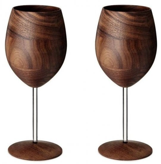 Wooden Wine Glasses Set of 2
