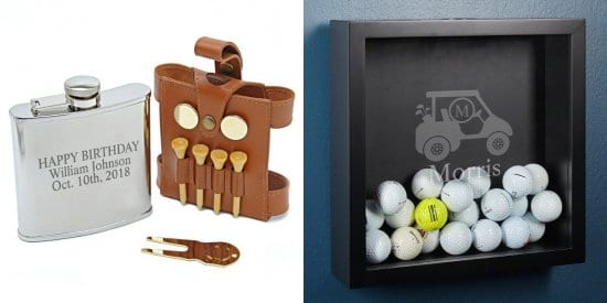 Golfer Flask and Shadow Box