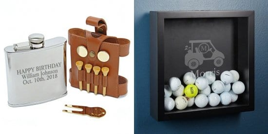 Golfer Hip Flask and Shadow Box Display Case