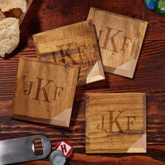 Monogrammed Gold Dipped Coasters