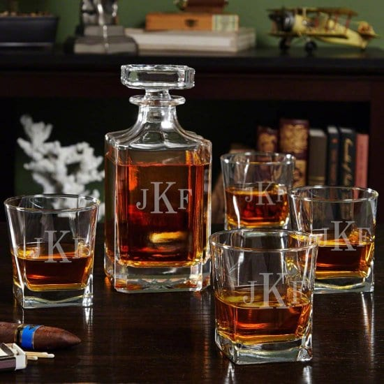 Monogram Whiskey Decanter and Four Glasses