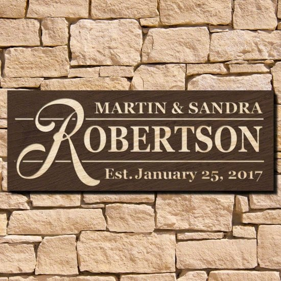 Personalized Wooden Wall Sign for Couples