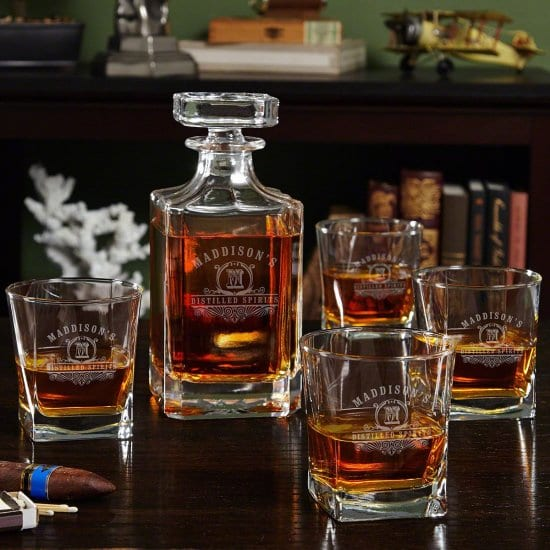 Engraved Whiskey Decanter and Four Glasses