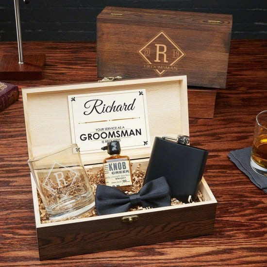 Wooden Box Groomsmen Gift With Glass and Flask