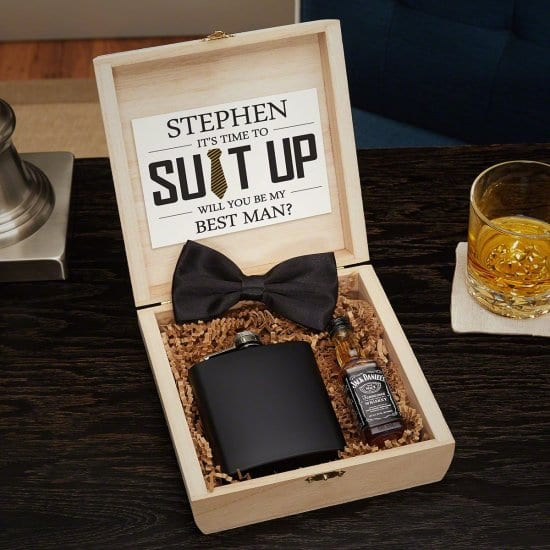 Wooden Groomsmen Gift Crate with Flask