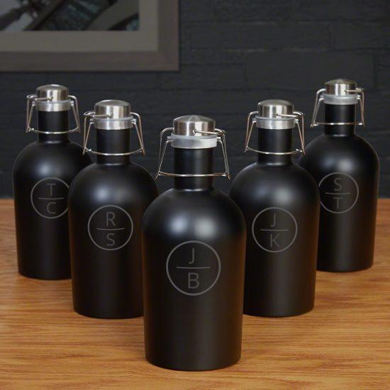 Set of Five Black Beer Growlers