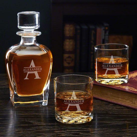 Three Piece Engraved Whiskey Decanter Set