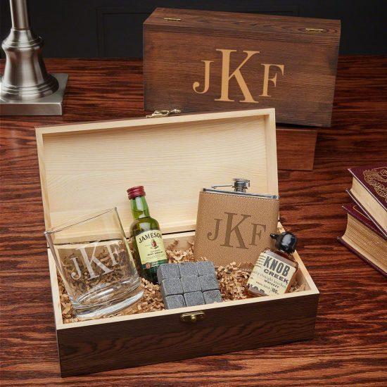 Monogrammed Whiskey Gift Box Set