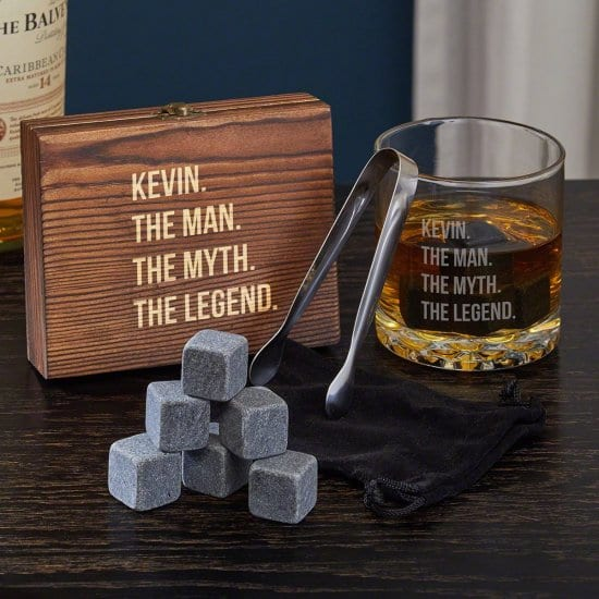 Whiskey Stones Set and Glass Etsy Gifts for Him