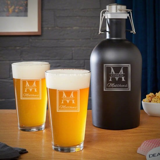 Personalized Growler and Pint Glass Set Best Gifts for Parents