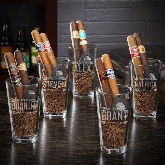Groomsmen Pint Glass Gift Sets Set of Five
