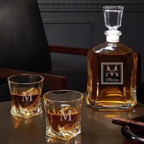 Custom Whiskey Decanter and Twist Glasses Set