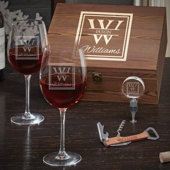 Engraved Box Wine Glass Gift for New Parents