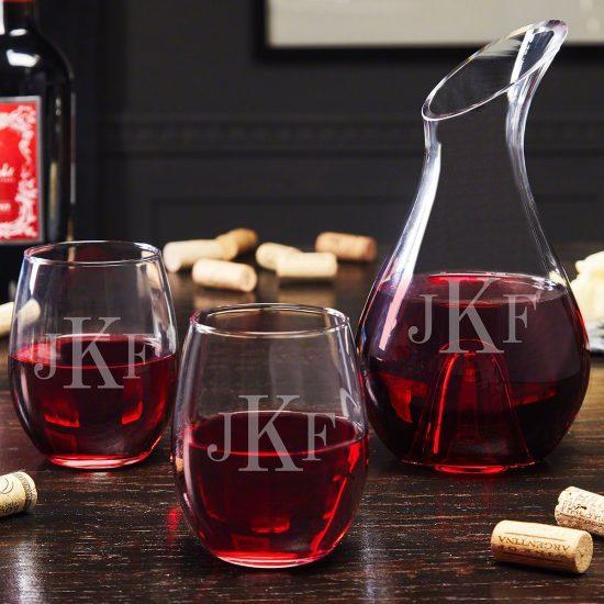 Monogrammed Wine Decanter Set Engagement Gift