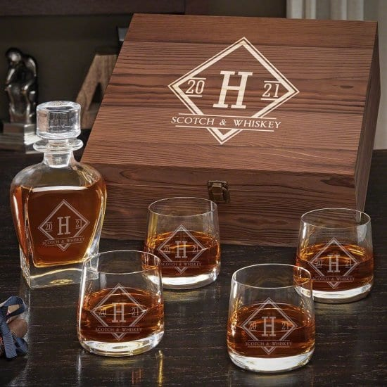 Engraved Whiskey Decanter Box Set with Four Glasses