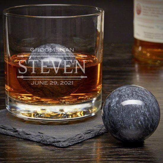Custom Rocks Glass with Whiskey Spheres