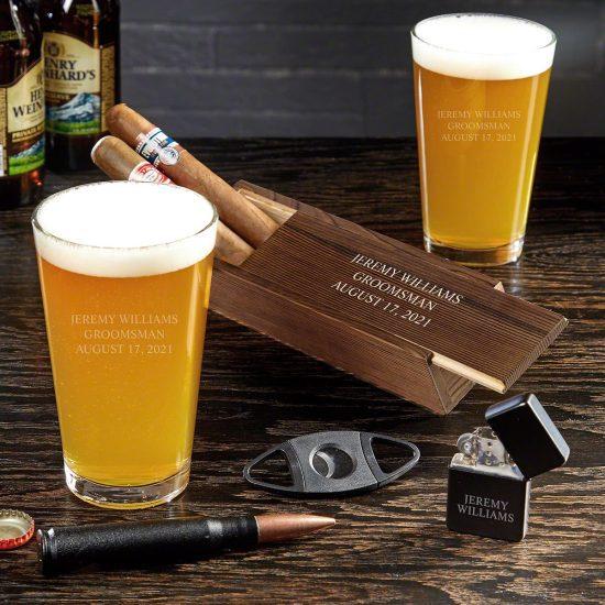 Cigar Box Gift Set with Pint Glasses
