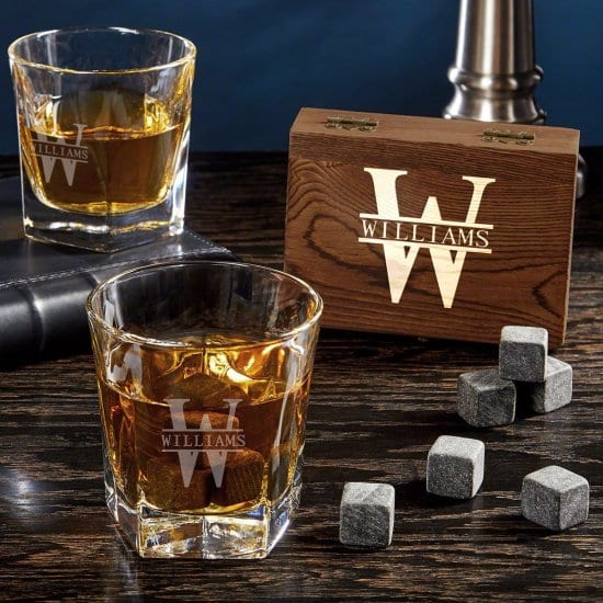 Custom Whiskey Stone Gift Set with Two Glasses