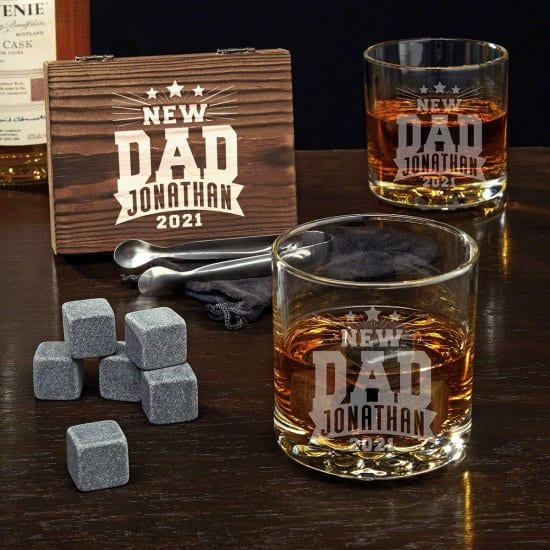 Personalized Dad to Be Whiskey Glasses and Stones Set