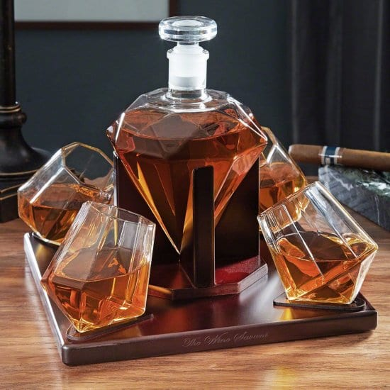Diamond Decanter and Four Glasses with Stand
