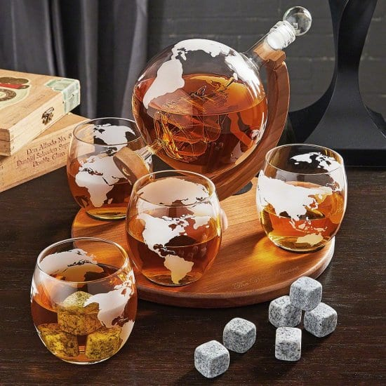 Globe Decanter and Glasses With Whiskey Stones