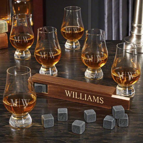 Six Glencairn Glasses and Whiskey Stones