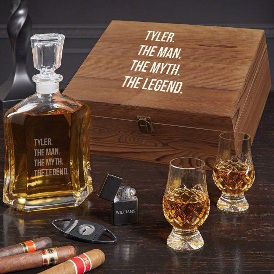 Whiskey Decanter and Crystal Glencairn Glasses Set