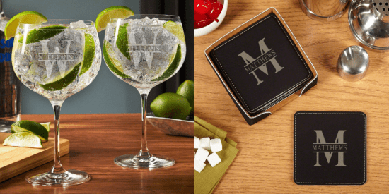 Personalized Balloon Glasses and Faux Leather Coasters