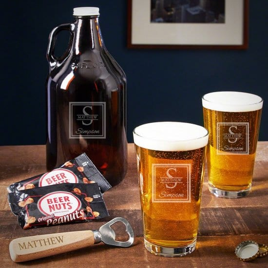 Personalized Pint Glasses and Growler Set