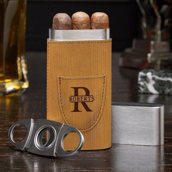 Engraved Leatherette Cigar Case