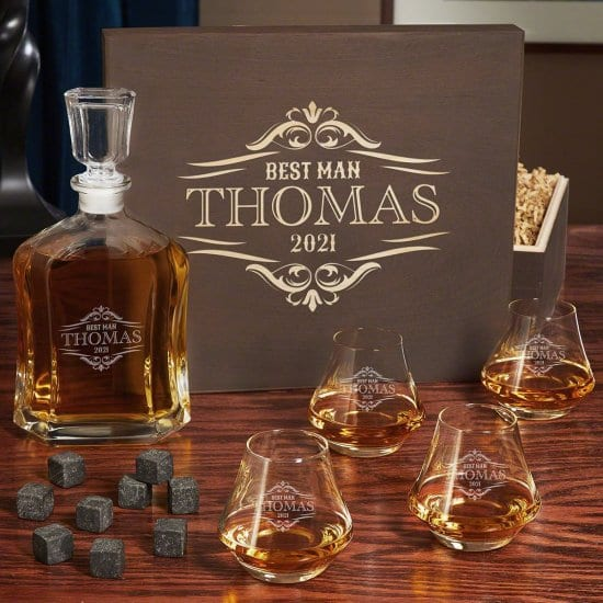 Engraved Whiskey Decanter Set with Four Glasses
