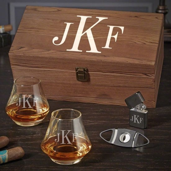 Monogram Bourbon Gift Set with DiMera Glasses Drinking Gifts