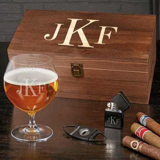 Monogrammed Beer and Cigar Gift Set