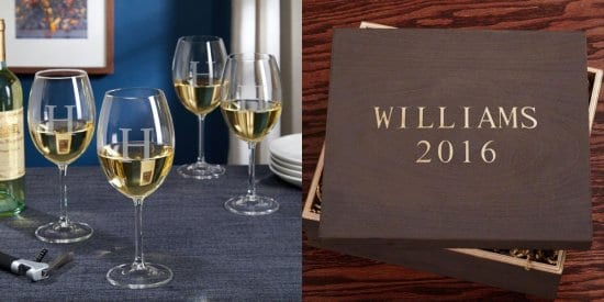 Custom Wine Glasses and Wooden Box Gift Set