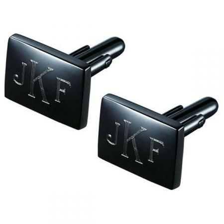 Monogrammed Gunmetal Cufflinks
