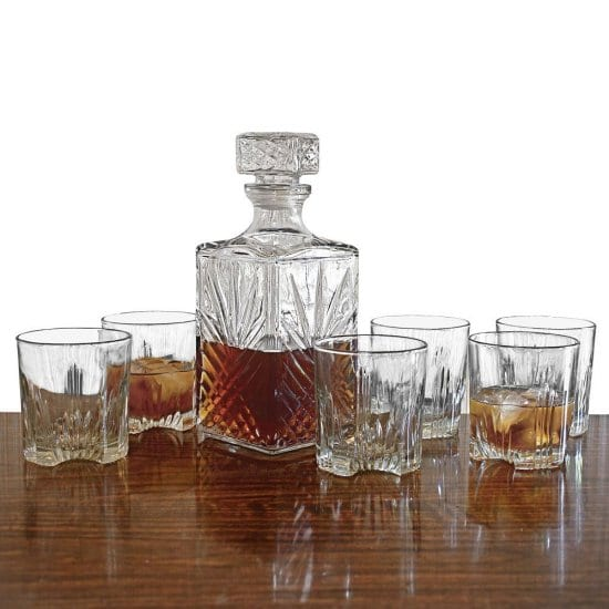 Bourbon Decanter and Crystal Bourbon Glasses