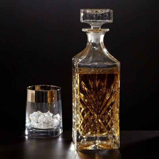 Crystal Diamond Decanter and Glass