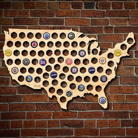 Wooden Beer Cap Map