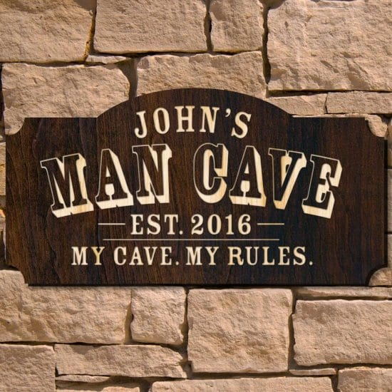 Engraved Wooden Man Cave Sign