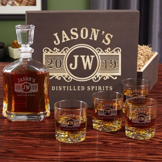 Personalized Whiskey Decanter Set with Engravable Wooden Box