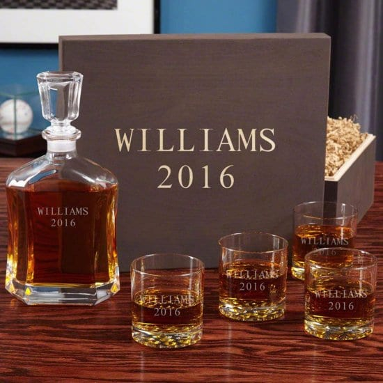 Personalized Whiskey Decanter Box Set with Four Glasses